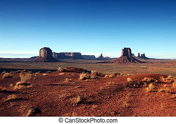 claro, cielo azul, vista, de, monument valley