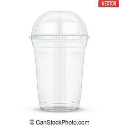 claro, copo plástico, com, esfera, cúpula, cap.