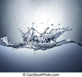 claro, coroa, respingo, water., vista., incomodado, lado