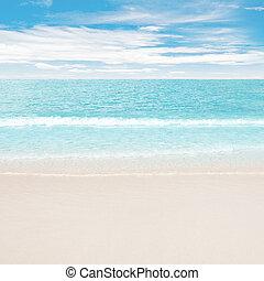 claro, océano, y, playa