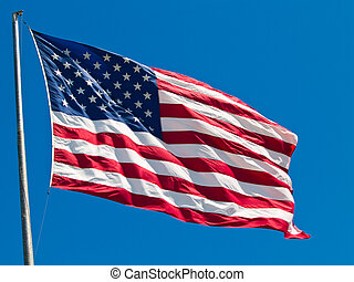 claro, orgullosamente, ventoso, bandera ondeante, ...