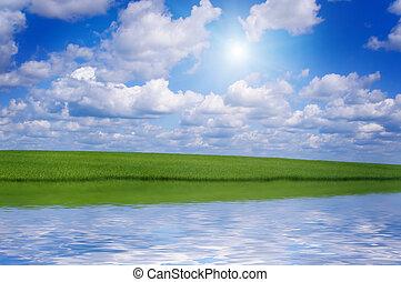 claro, prado verde, lago