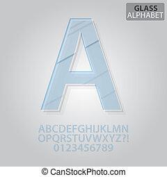 claro, vidro, alfabeto, e, números, vetorial