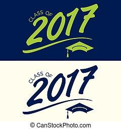 clase, de, 2017, felicitaciones, graduado, tipografía