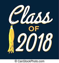 clase, de, 2018, ., felicitaciones, graduado, tipografía