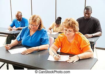 clase, educación, -, exámenes, adulto