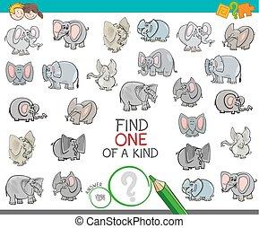 clase, elefante, hallazgo, caracteres, uno