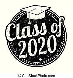clase, estampilla, 2020, grunge, caucho