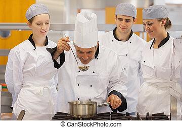 clase, mirar, profesor, sabor, el, sopa