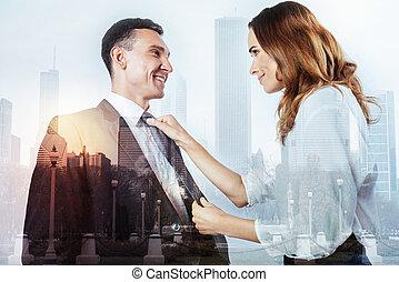 clase, mujer, porción, ella, marido, con, el suyo, corbata