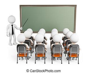 clase, personas., estudiantes, 3d, blanco