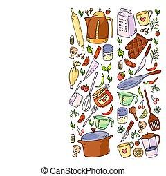 clase, restaurante, alimento, menú, utencil., patrón, cocina...