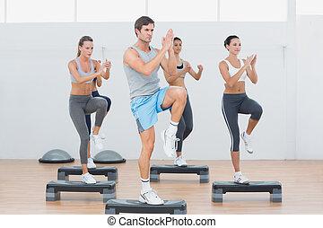 clase salud, amaestrado, aeróbicos de paso, ejercicio