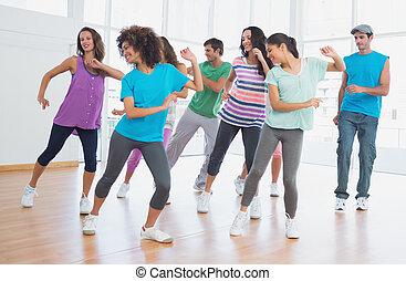 clase salud, y, instructor, hacer, pilates, ejercicio