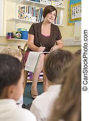 clase, se sienta, profesor, primario, alumnos