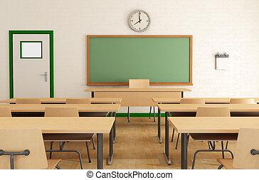 clase, sin, estudiantes
