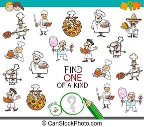 clase, uno, chef, juego, caracteres, hallazgo