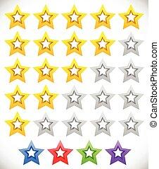 clasificación, estrella, clasificación, sistema, stars., ...