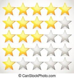 clasificación, estrella, vector, 5, graphics., element.