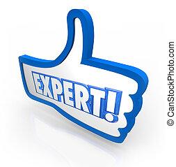 clasificación, experimentado, palabra, experto, símbolo, arriba, aprobado, pulgares, revisión