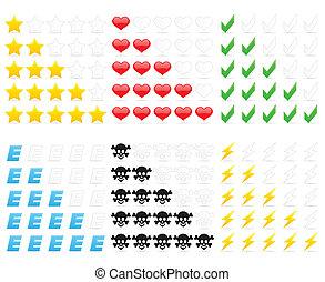 clasificación, iconos