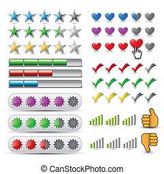 clasificación, vector, conjunto, icono