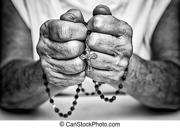 clasped, bidsnoer, handen