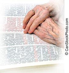 clasped, bijbel, handen