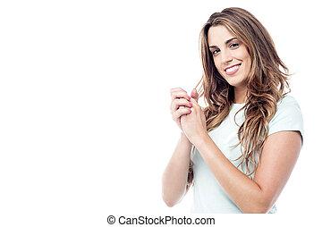 clasped, glimlachende vrouw, handen