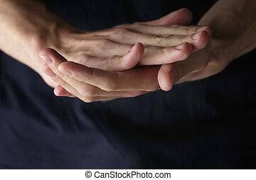 clasped, volwassene, man, handen