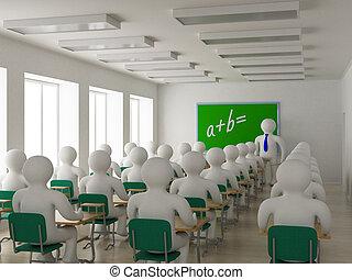class., 内部, 学校, image., 3d