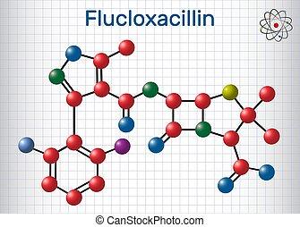 class., antibiotikum, molecule., molekül, ihm, flucloxacillin, chemische , beta-lactam, (floxacillin), formel, modell, penicillin, strukturell
