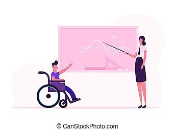 class., apartamento, escola, conceito, menino, quadro-negro, cadeira rodas, responder, incapacidade, jovem, ilustração, caricatura, incapacitado, limitou, mulher, vetorial, matemática, lição, classroom., professor, aluno