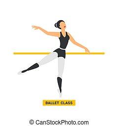 class., ballerina, ballare ballet, ballo, immagine, stile, appartamento, fondo., bianco, studio.