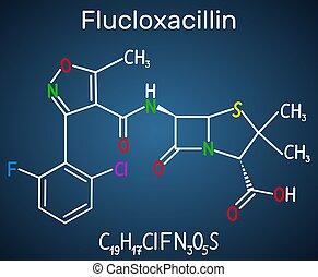 class., blaues, antibiotikum, beta-lactam, molecule., ihm, flucloxacillin, chemische , hintergrund, (floxacillin), dunkel, formel, penicillin, strukturell