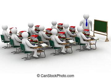 class., escola, image., isolado, lição, 3d