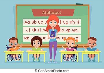 class., escola, saudável, incapacidades, acoplado, mesmo, crianças