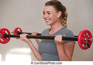 class., formation, barres disques, jeune, ensemble, fitness, femmes