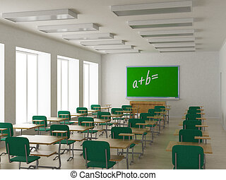 class., interieur, school, image., 3d