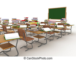 class., interior, escola, image., 3d