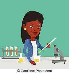 class., laboratorio, estudiante, trabajando