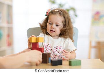class., montessori, peu, jeux, jardin enfants, enfant, girl, préscolaire