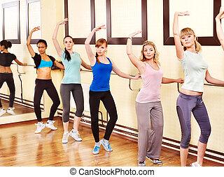 class., mulheres, aeróbica