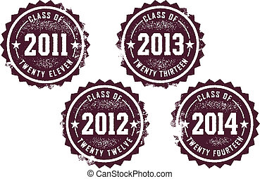 Vintage rubber stamp style imprint for graduating classes of 2011, 2012, 2013, and 2014.