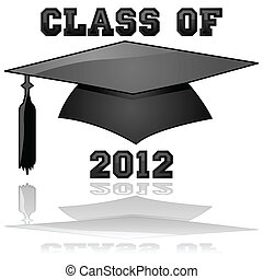 Class of 2012 graduation - Glossy illustration of a hat and ...