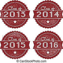 Class of 2013, 2014, 2015, and 2016 rubber stamp imprints.