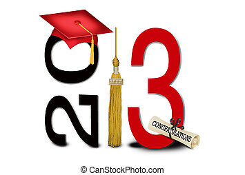 Class of 2013 - Red graduation cap with gold tassel and ...