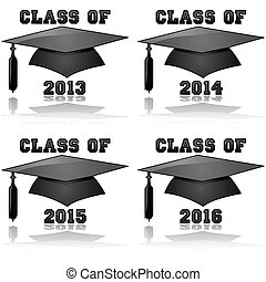 Class of 2013 to 2016 - Glossy icon illustration showing a...