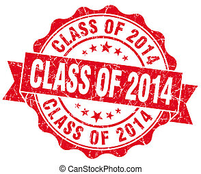 class of 2014 red vintage isolated seal