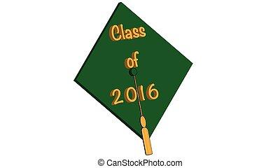 Class of 2016 green - Class of 2016 mortarboard